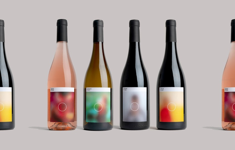 Packaging design trends 2020 example: wine bottle labels with blurry images