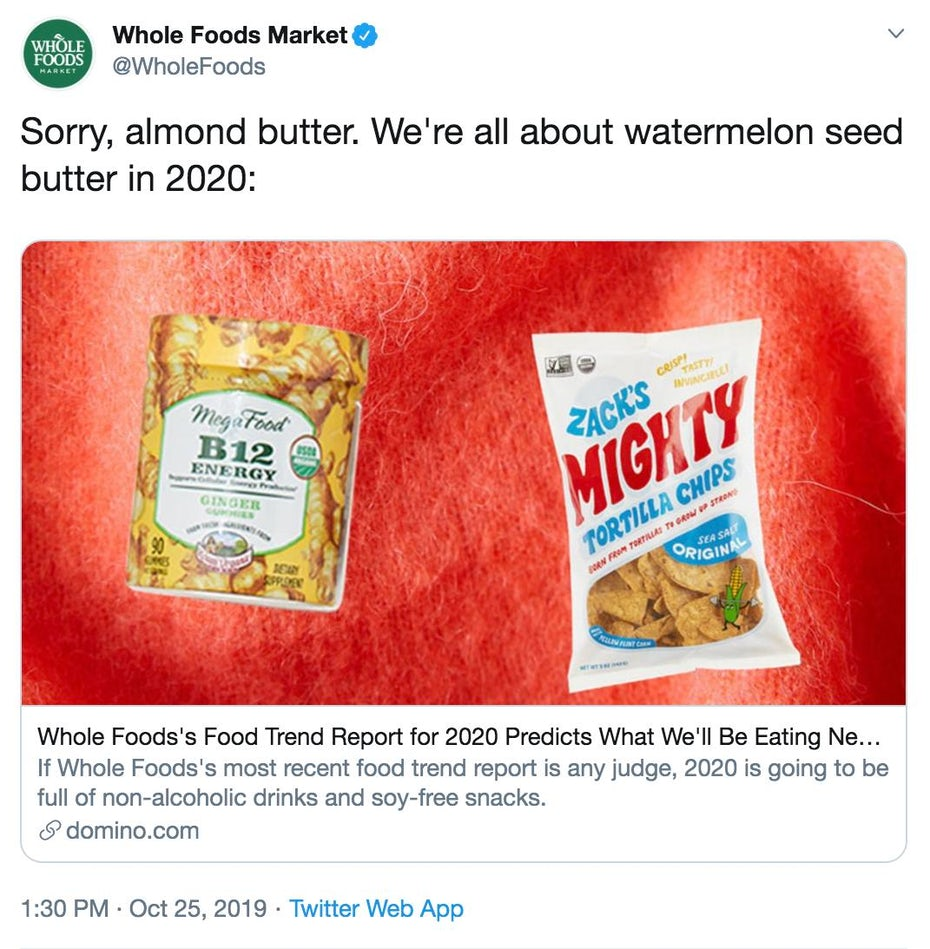 Whole Foods Trend Report Tweet