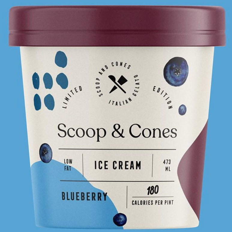 Packaging design trends 2020 example: Scoops an Cones ice cream packaging with structured layout