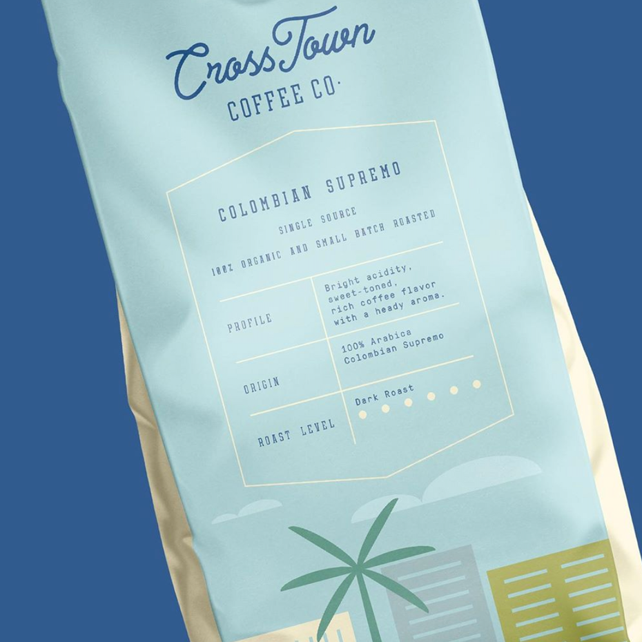 Packaging design trends 2020 example: Cross Town Coffee Co. packaging with structured layout
