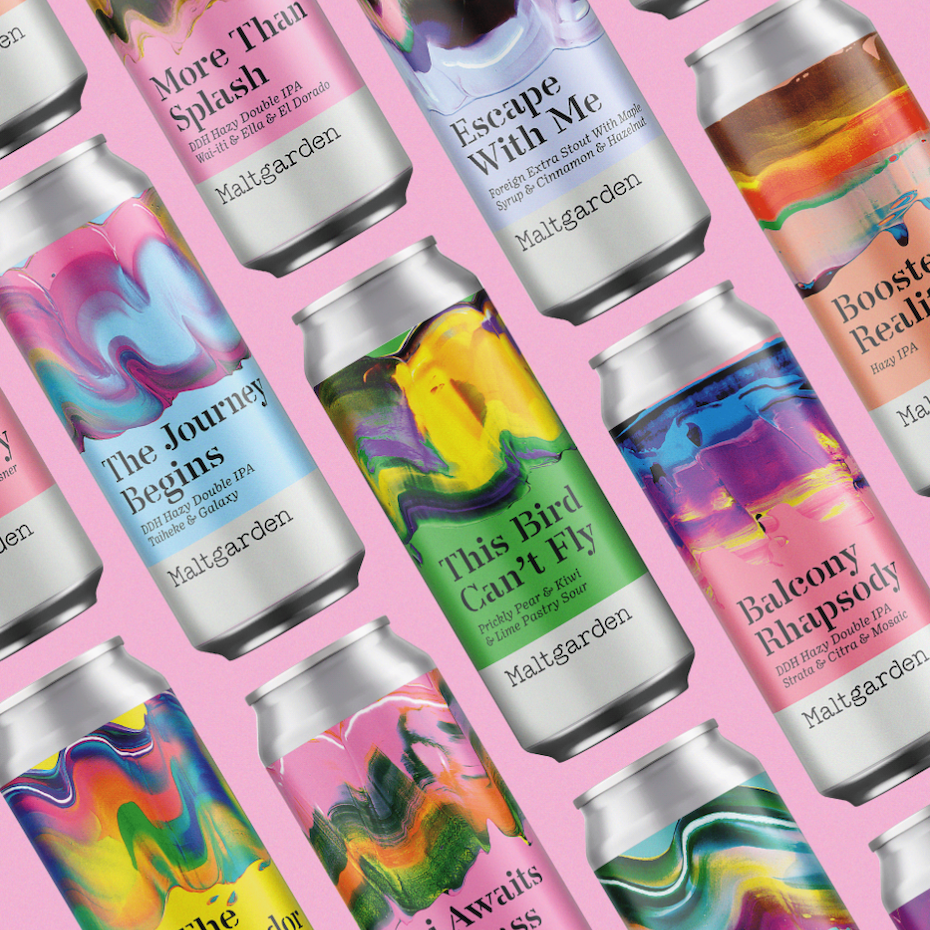 fine art packaging design trend: painting inspired beer can design