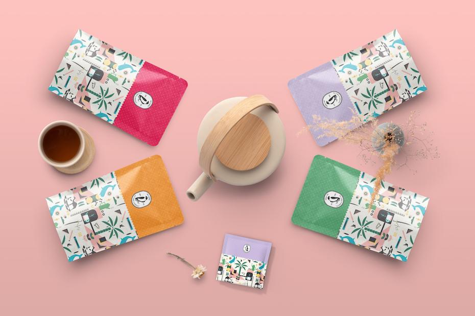 Verpackungsdesigntrends: Tee-Verpackungsdesign mit winzigem illustriertem Muster