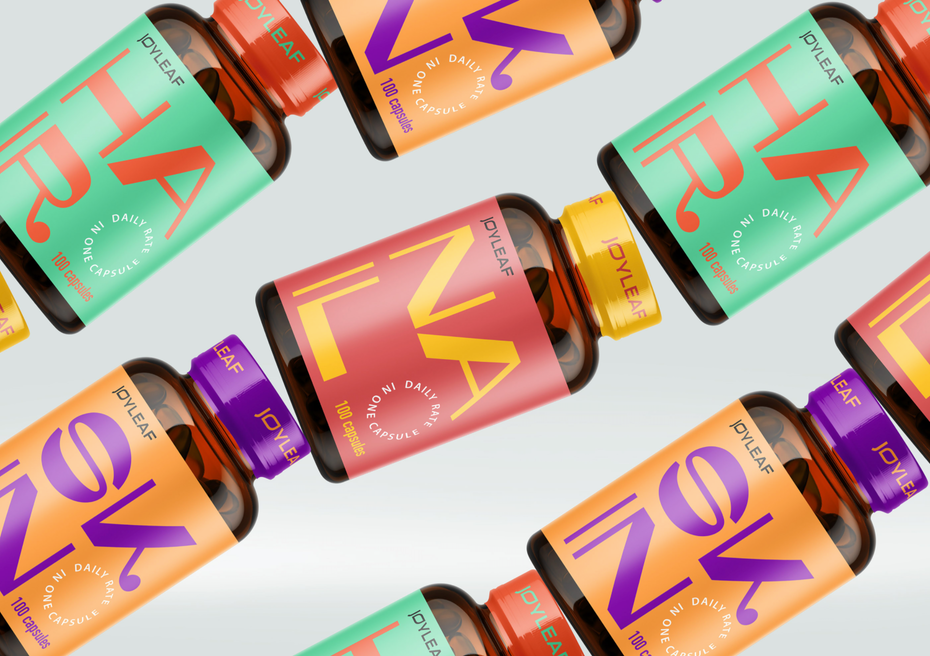 name-focussed packaging design trend: colorful supplement packaging design with bold letters