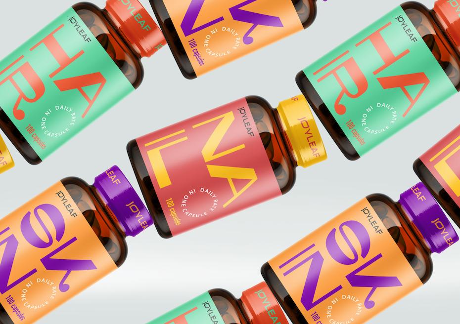 Verackungstrend Produktnamen im Mittelpunkt: farbenfrohes verpackungsdesign für vitamine mit fetten buchstaben
