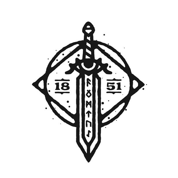 Round logo showing a sword, runes and an eye