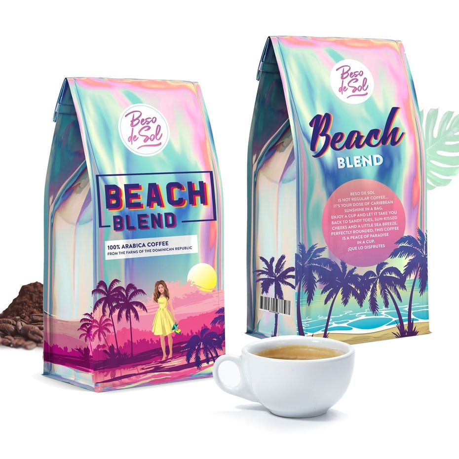 Holographic Coffee packaging design for Beach Blend coffee