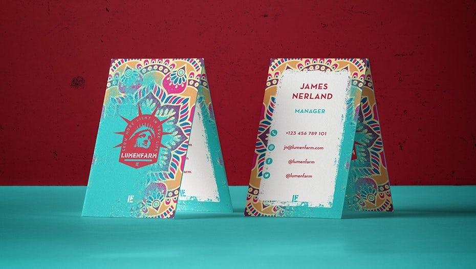 Ejemplo de tendencias de diseño gráfico 2020: diseño de tarjeta de presentación de pintura en aerosol