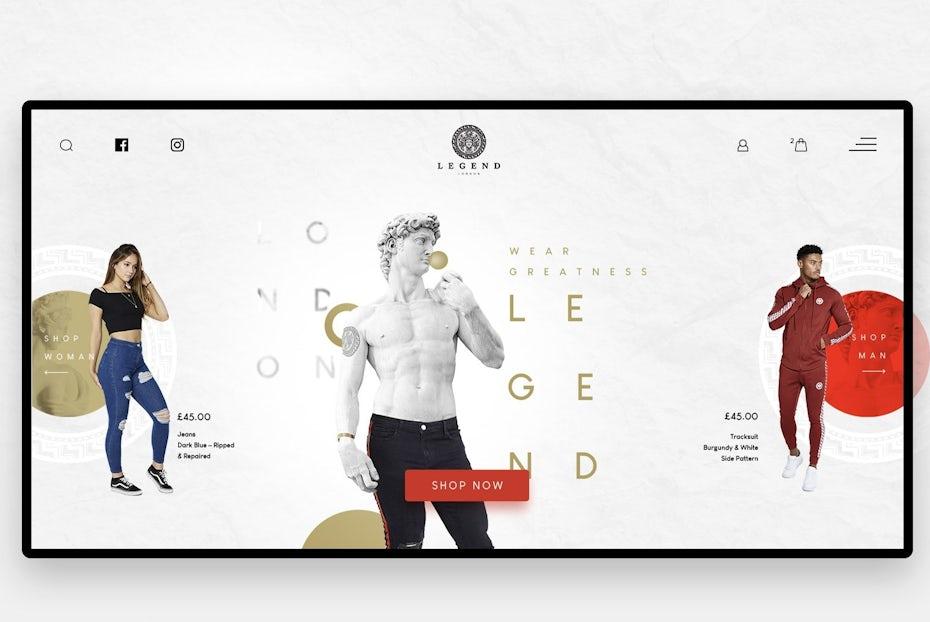 Exemplo da tendência de web design para fotografia e gráficos em 2020