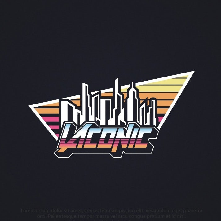Logo design trends example: 80s inspired logo with skyline