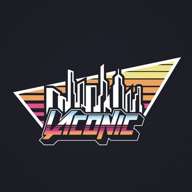 80s inspired logo with skyline
