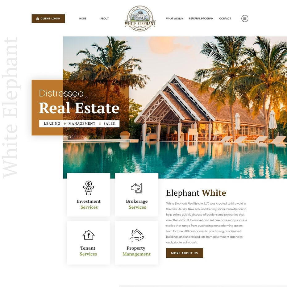 Website design showing a home beside an infinity pool