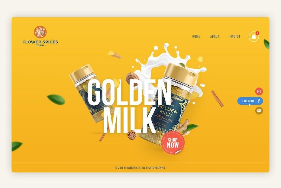 Exemplo da tendência de web design de 2020 de sombras suaves e elementos flutuantes