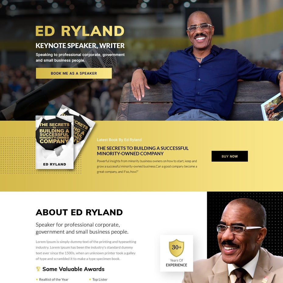 Black and white real estate website with a yellow accent