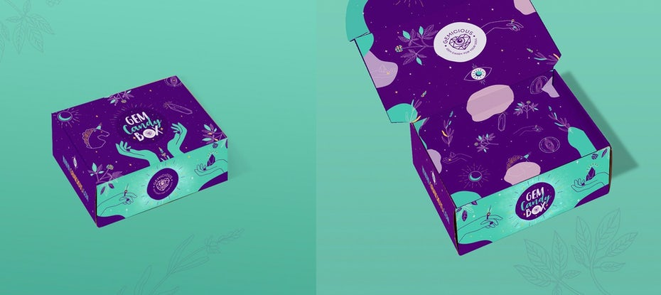 Ejemplo de tendencias de diseño gráfico 2020: diseño de envases estampados sobresaturados verdes y morados