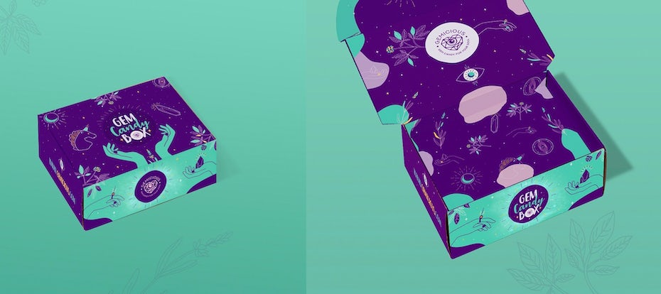 Green and purple oversaturated patterned packaging design