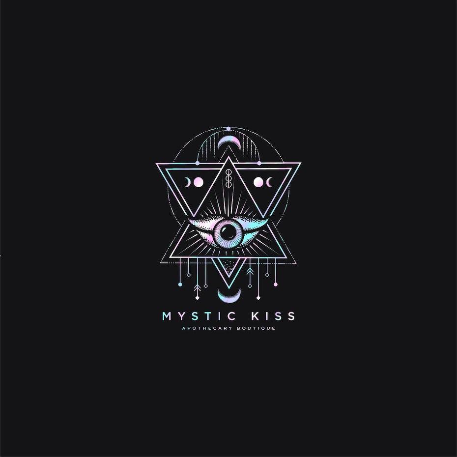 Ví dụ về xu hướng thiết kế logo: Logo hình học hiển thị hình tròn, hình tam giác, môi và mắt