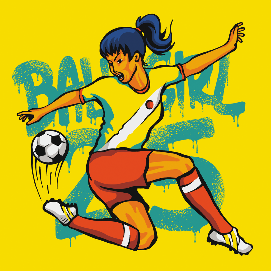 Ejemplo de tendencias de diseño gráfico 2020: ilustración de camiseta con respaldo de pintura en aerosol
