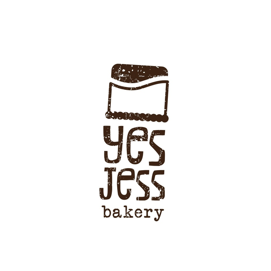 Brown logo with a simple image of a cake