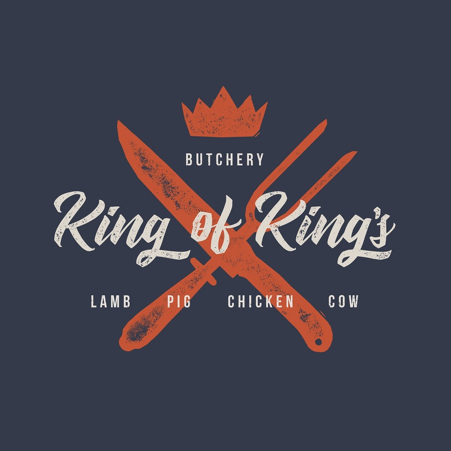 Graphic design trends 2020 example: Rustic logo type for a butcher