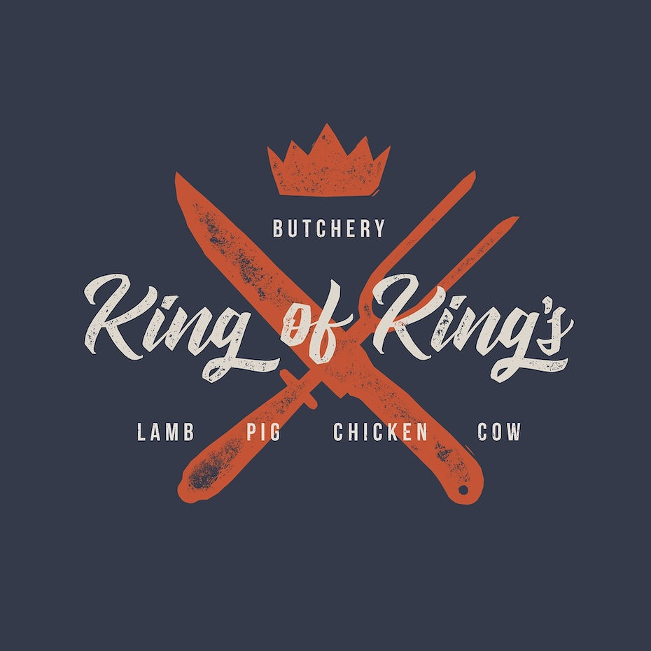 Rustic logo type for a butcher