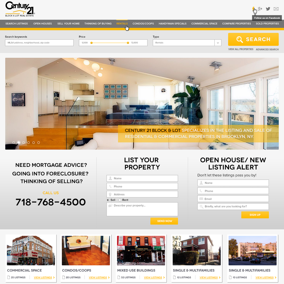 Yellow and gray website showing home interiors
