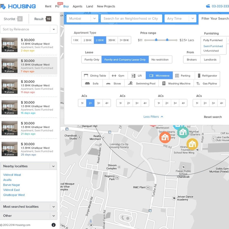Map-focused website design with individual home listings in the sidebar