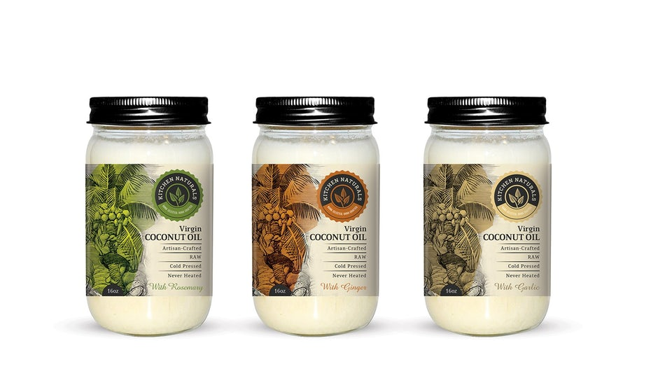Packaging design trends 2020 example: Kitchen Naturals Virgin Coconut Oil packaging