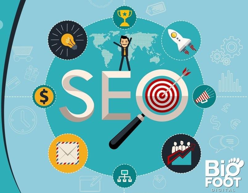 Ejemplo de tendencia de marketing digital 2020: Ilustración de banner que muestra diferentes herramientas de SEO.