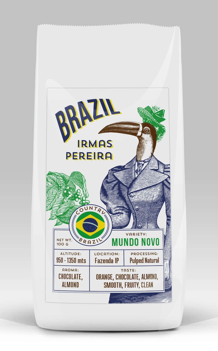 Packaging design trends 2020 example: Metamorphoses Brazilian coffee label