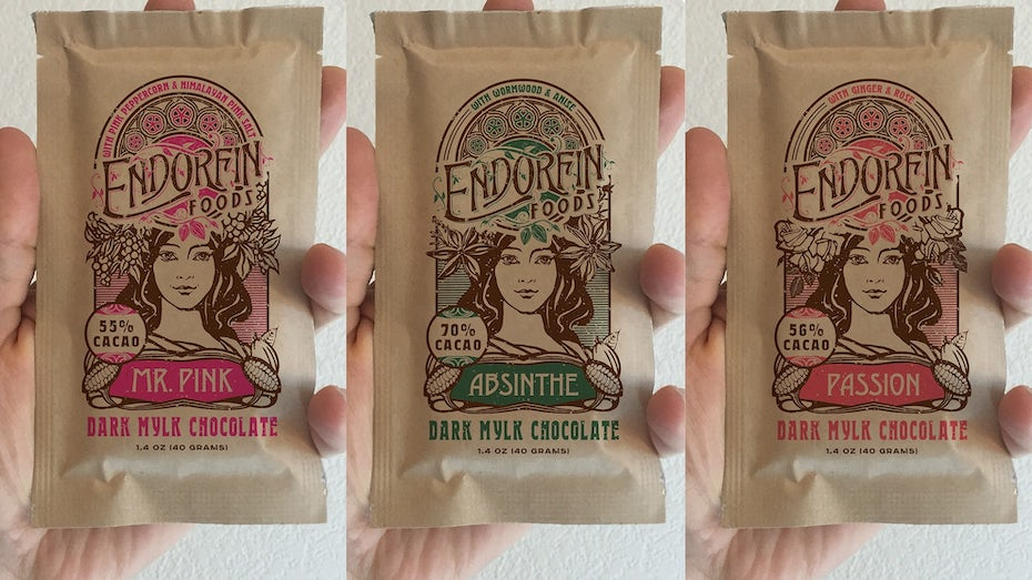 Packaging design trends 2020 example: Art Nouveau Inspired Kraft Pouches for Organic Chocolate Bars