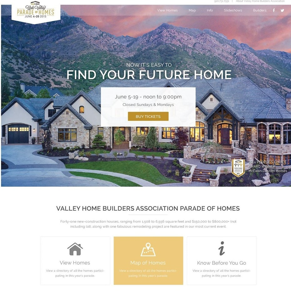 Website design featuring a mountain home