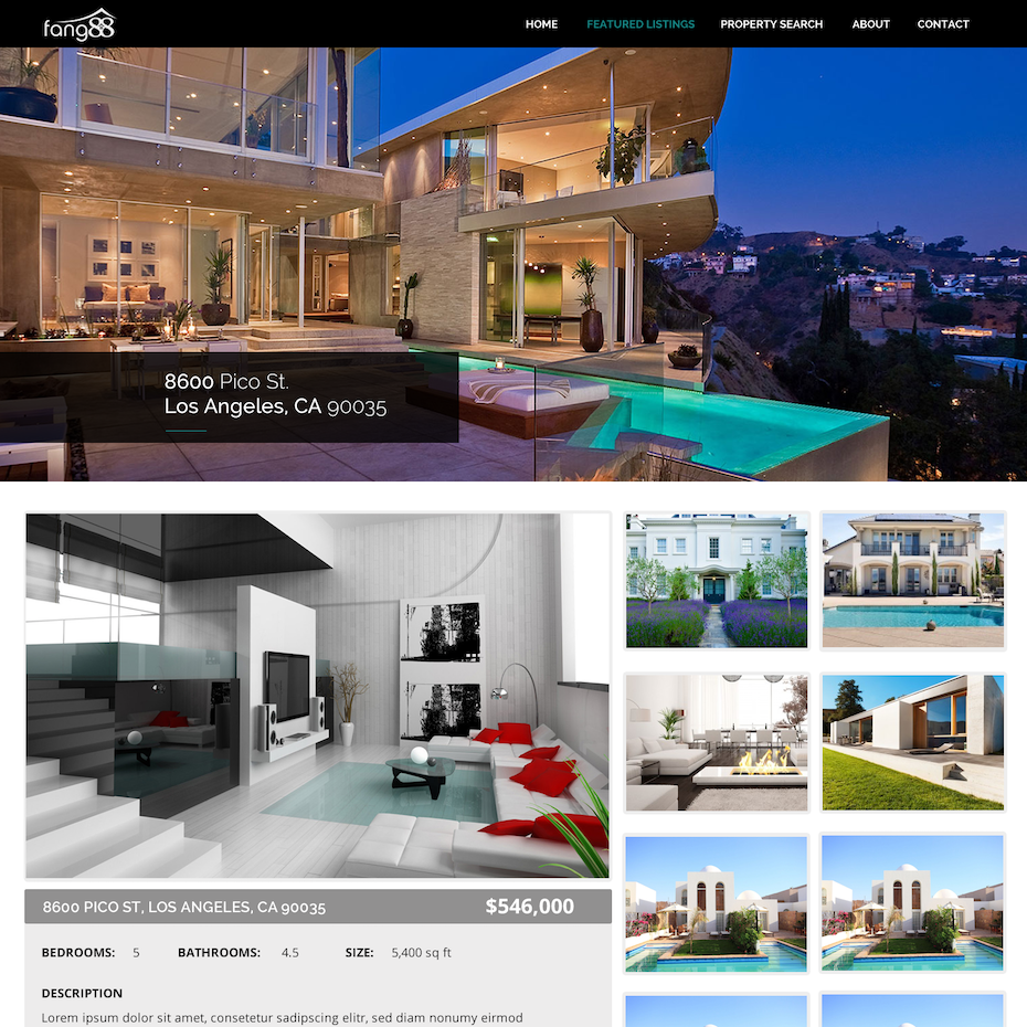 Colorful website showing a modern home