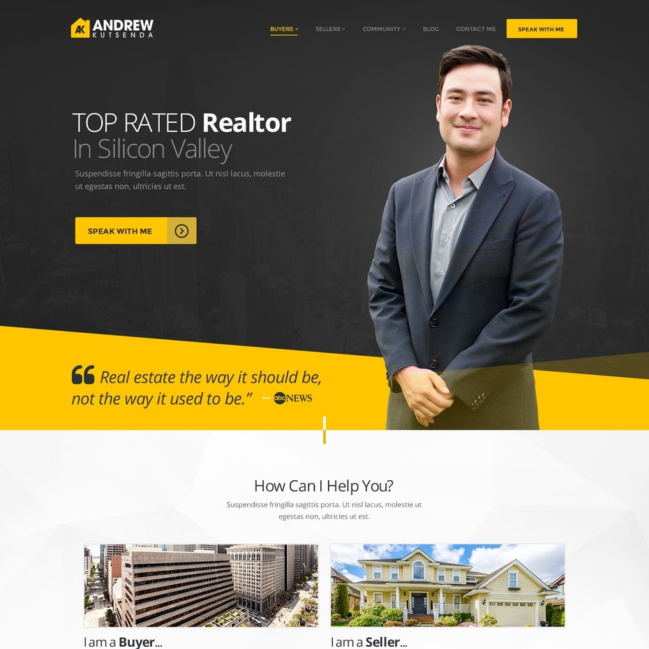 Gray and yellow website with a man standing