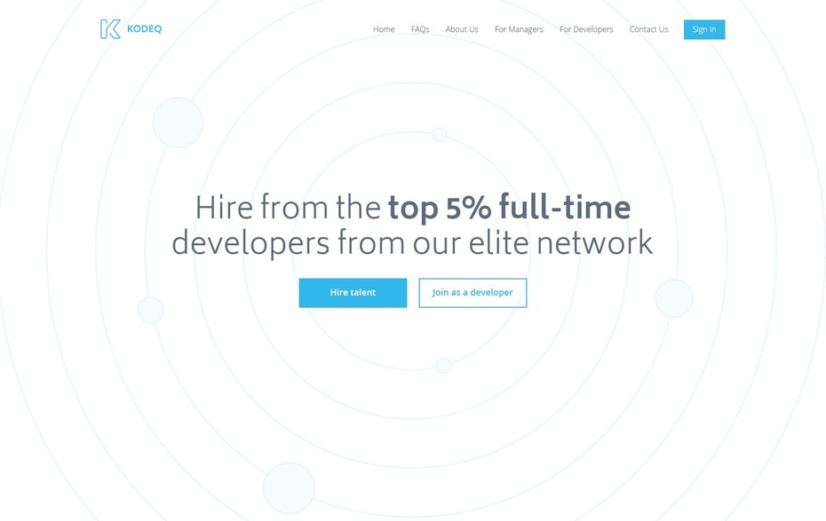 minimalist white and blue web design