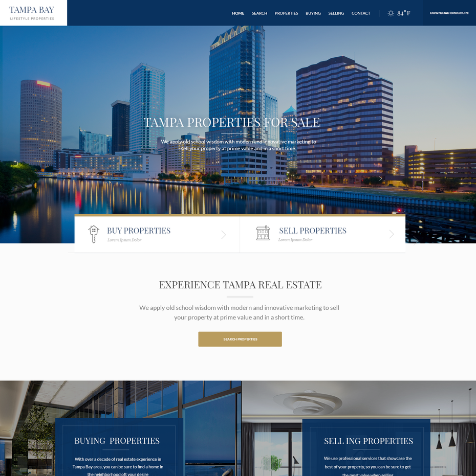 Beach themed real estate website design