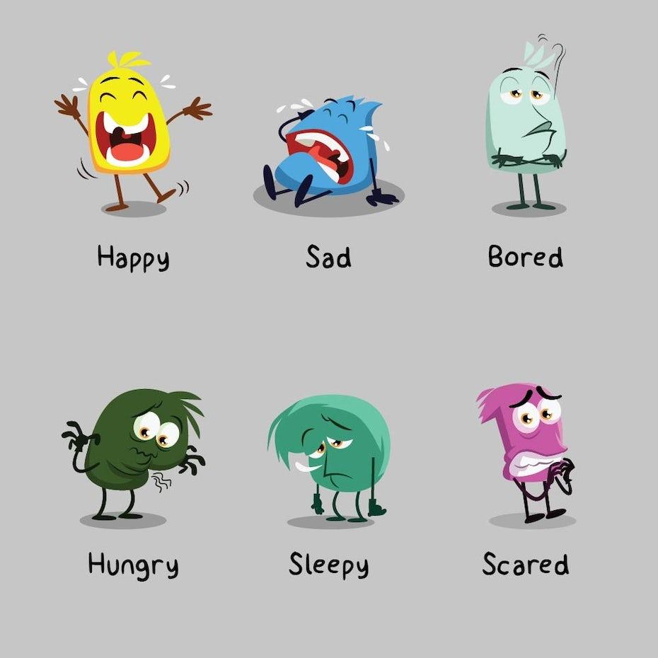 Ejemplo de tendencia de marketing digital 2020: diseños de Emoji para diferentes emociones