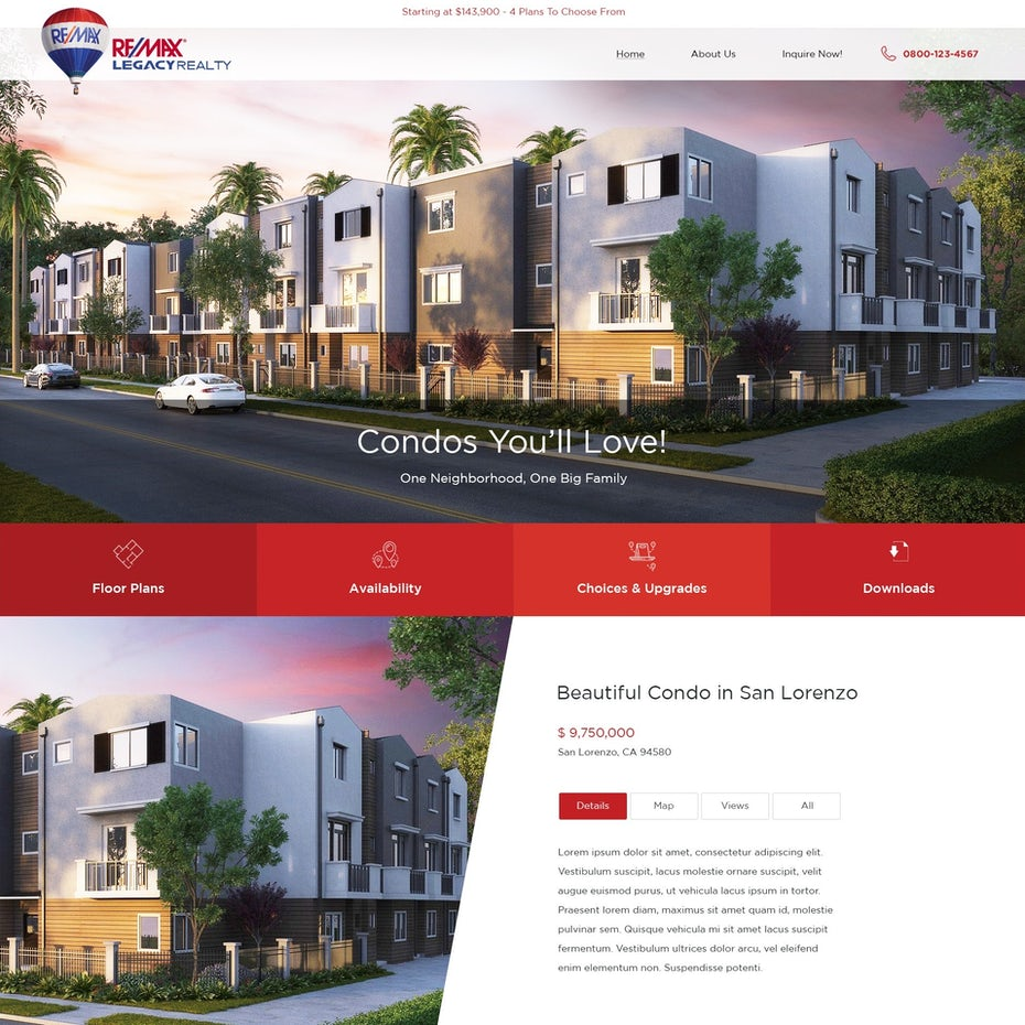 Photo-heavy website design showing condos