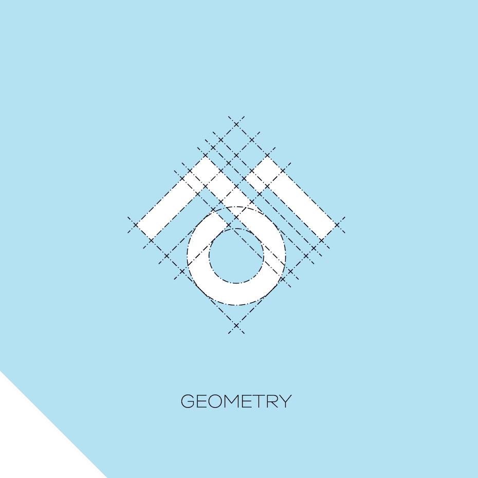 Xu hướng thiết kế logo 2020 ví dụ: Logo hình học tối giản với lưới thiết kế được phủ lên trên nó