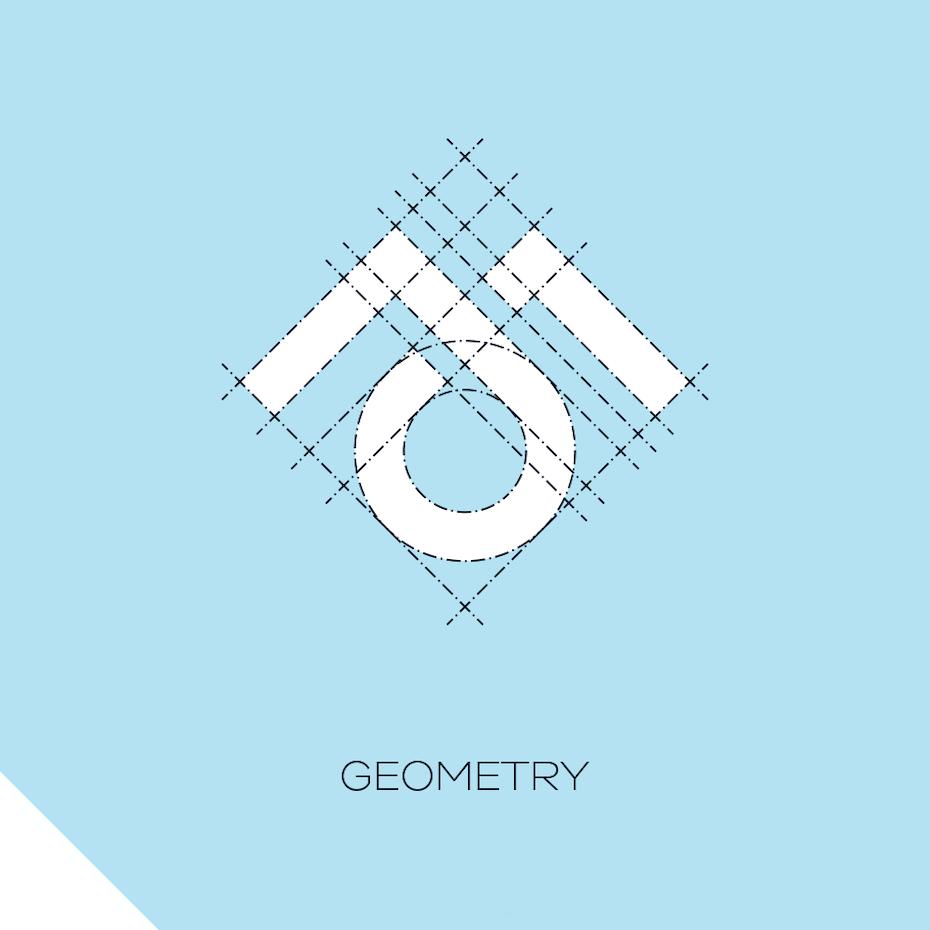 Minimalist geometric logo with a design grid overlaid across it