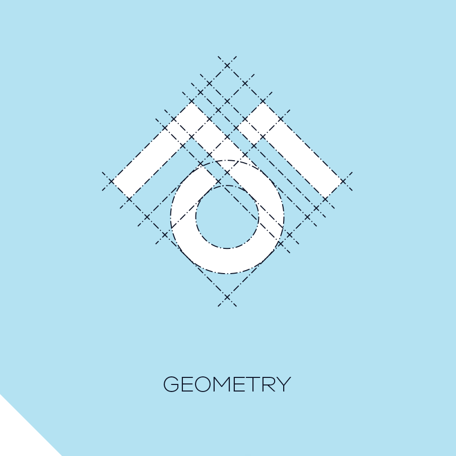 Minimalist geometric logo with a design grid overlaid across it