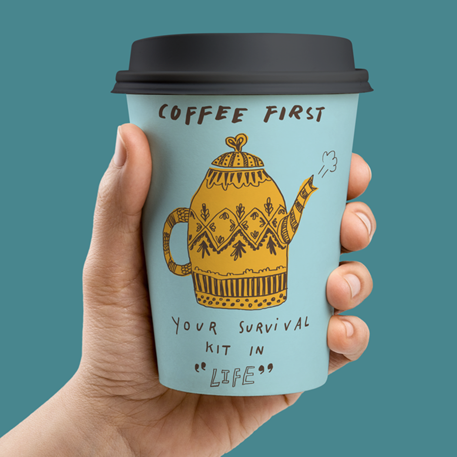Graphic design trends 2020 example: messy handdrawn font on a paper cup design