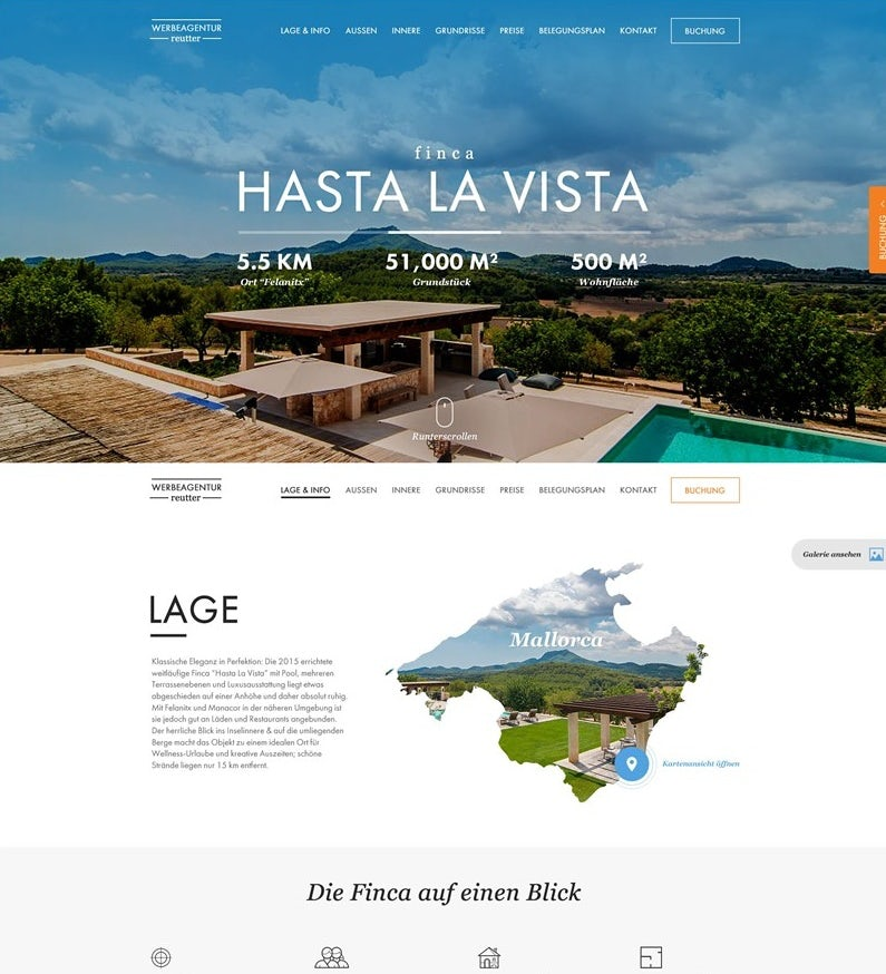 Website showing tropical locale