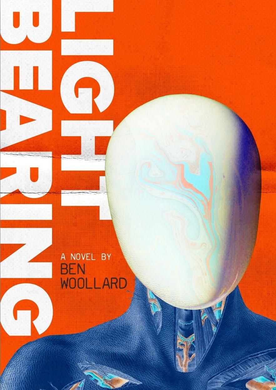Ejemplo de tendencias de diseño gráfico 2020: portada del libro que muestra un androide sin rostro