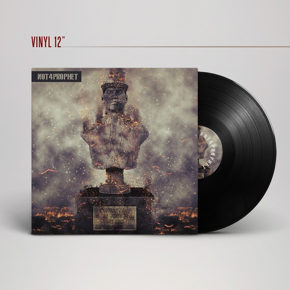 dystopian album cover with statue in ashes