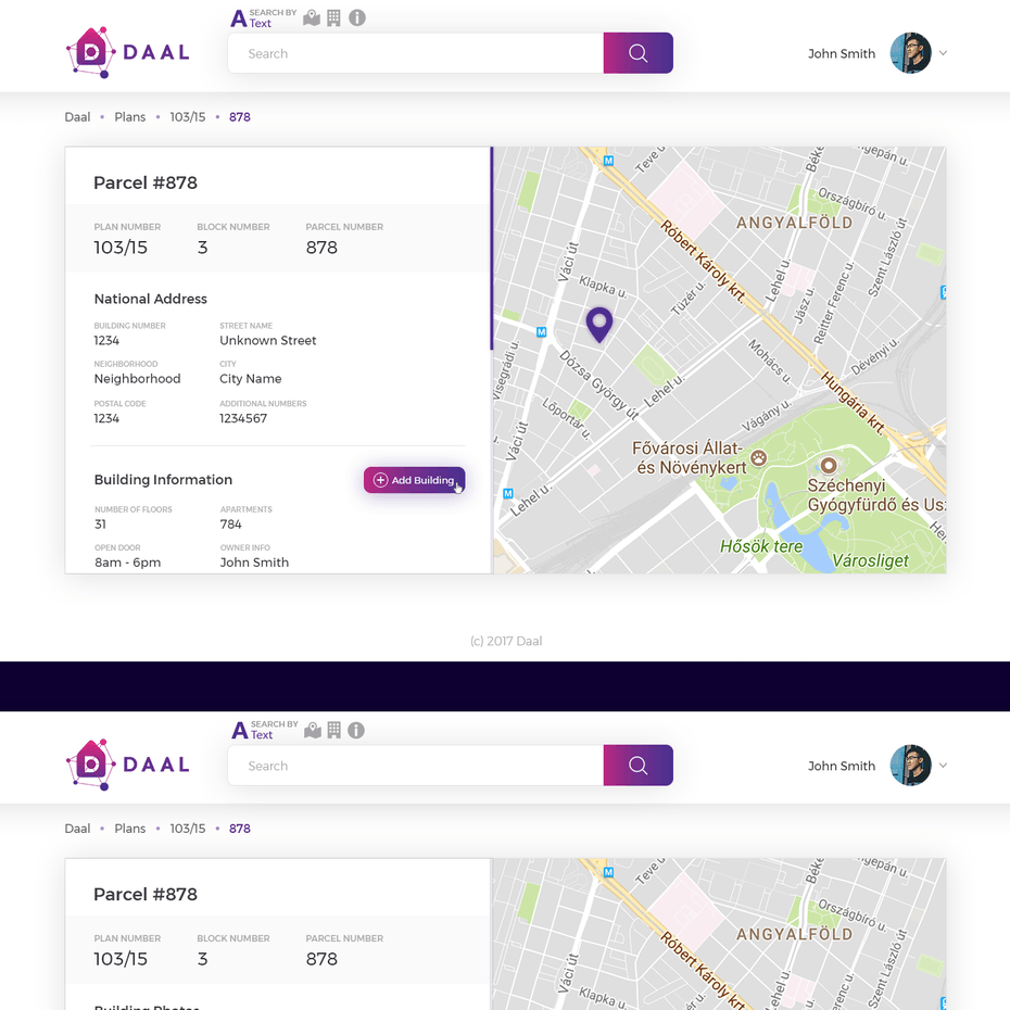 White and purple website with a prominent map