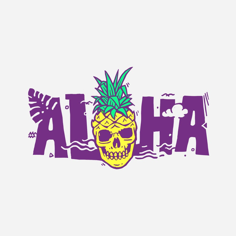 Graphic design trends 2020 example: logo with illustrative font and pineapple and skull illustration