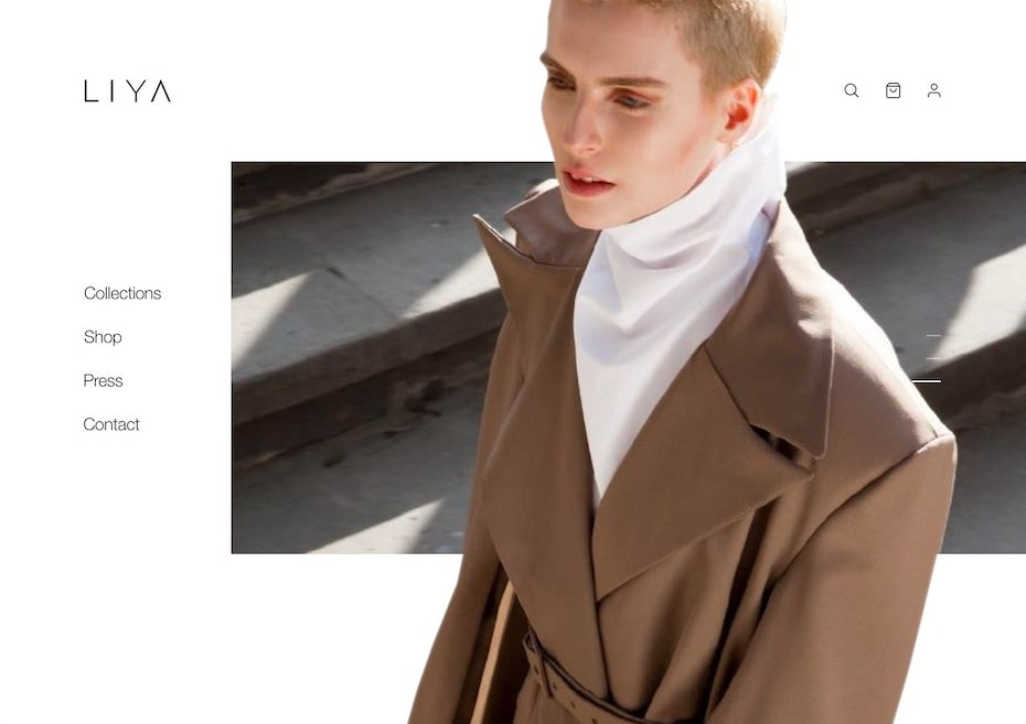 minimal fashion web design with large image
