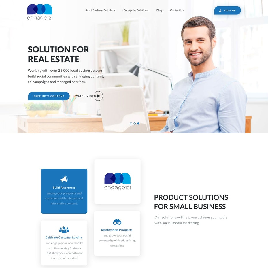 White and blue website design with an image of a smiling man with a laptop