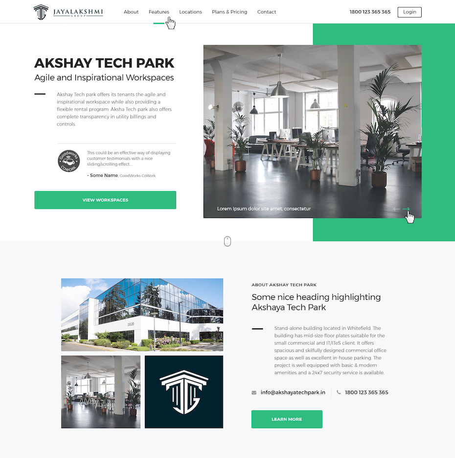 Green and white website showing commercial spaces