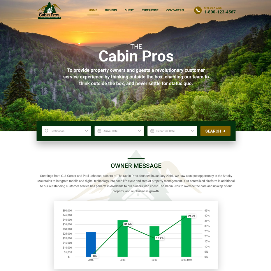 Wood-inspired website design showing trees
